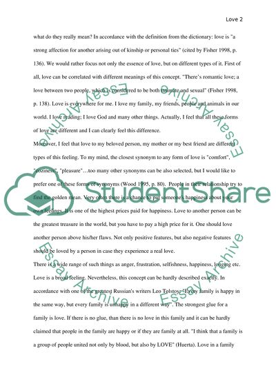 Definition of Love Essay Example Topics and Well Written Essays