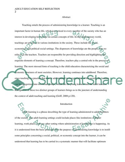 Adult education self reflection Essay Example Topics and Well