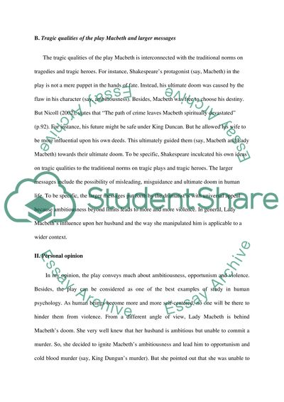 Macbeth as Tragedy Essay Example Topics and Well Written Essays