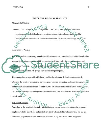 EXECUTIVE SUMMARY TEMPLATE Article Example Topics and Well Written