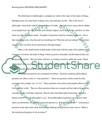 Defining Pholosophy Essay Example Topics and Well Written Essays