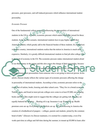 College Pressures and International Students Essay