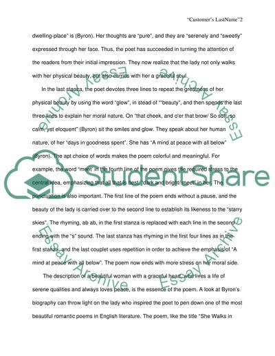 She walks in Beauty Essay Example Topics and Well Written Essays