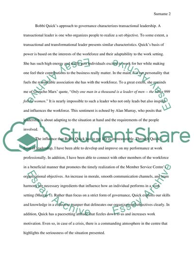 Describing the leadership style of someone you respect Essay