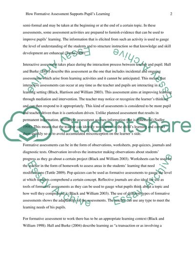 How Formative Assessment Supports Pupils\u0027 Learning Essay
