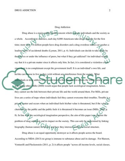 Drug Addiction Essay Example Topics and Well Written Essays - 1250