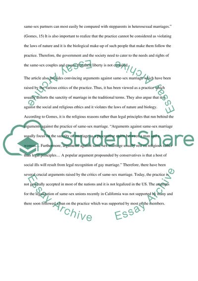 Same-sex marriage research Essay Example Topics and Well Written