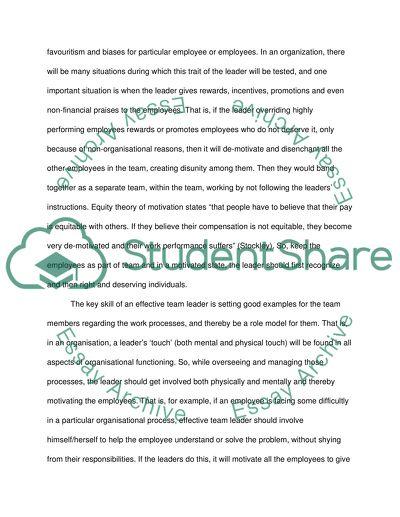 Effictive leadership skills,Task 1 Discuss the characteristics and