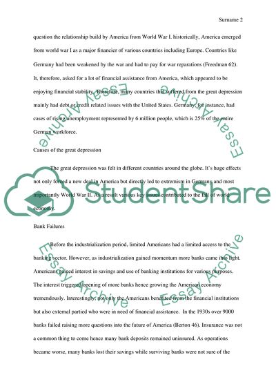 The great depression Essay Example Topics and Well Written Essays