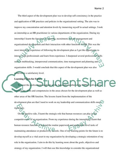CIPD- PDP Essay Example Topics and Well Written Essays - 1250 words