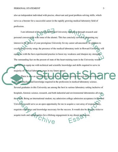 Essay to Howard University Personal Statement Example Topics and