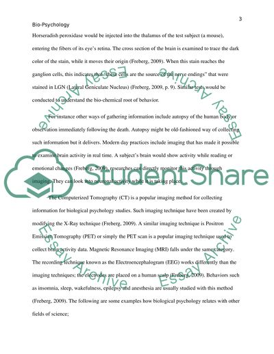 Biological psychology paper Essay Example Topics and Well Written