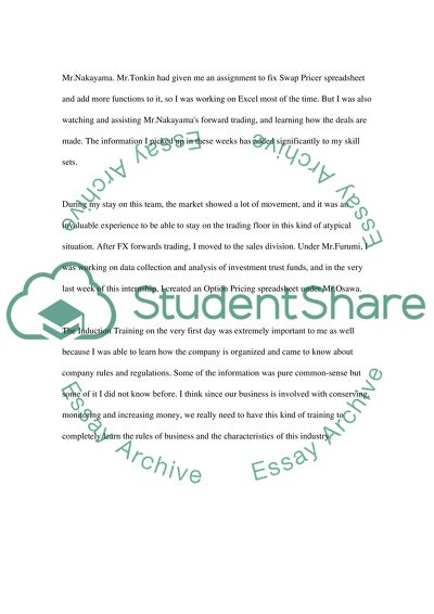My Internship Report Essay Example Topics and Well Written Essays
