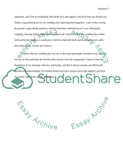 Self-Introductory Speech ( My wedding) Essay Example Topics and