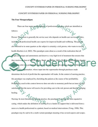 Personal Nursing Philosophy Essay Example Topics and Well Written