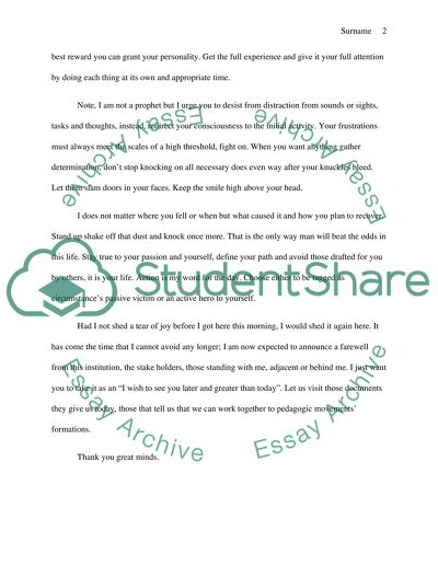 High school graduation student commencement speech Essay - 1