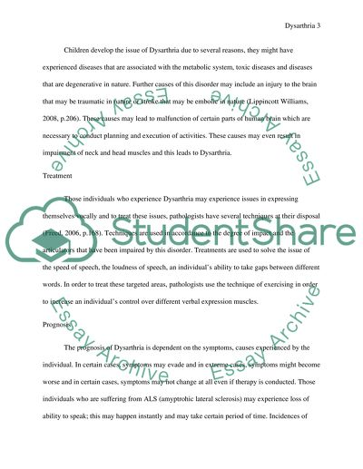 Speech Disorders in Childhood Dysarthria Admission/Application Essay