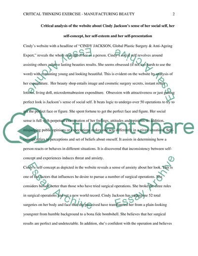 Critical thinking-Manufacturing Beauty Essay Example Topics and