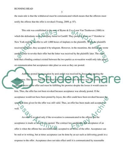 Law Offer and Acceptance Essay Example Topics and Well Written