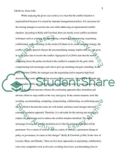 Critical analysis of Nursing scenario Essay Example Topics and