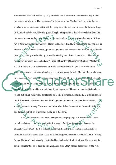 Macbeth Essay Example Topics and Well Written Essays - 750 words - 1