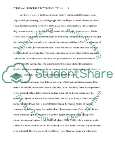 Personal Leadership Development Plan Essay Example Topics and Well