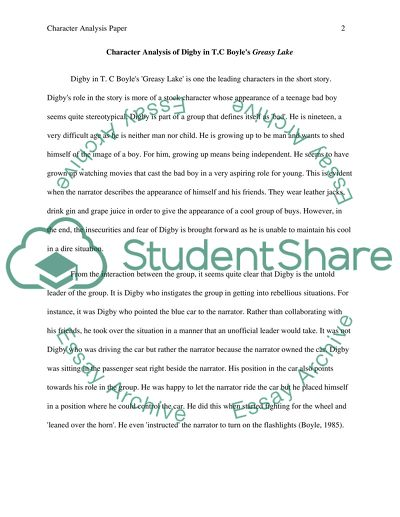 Character Analysis Paper Essay Example Topics and Well Written