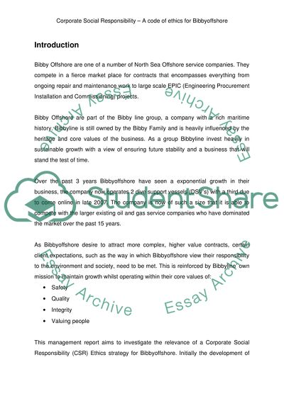Corporate Social Responsibility - A code of ethics Essay