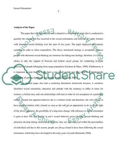 Critical Analysis of a Research Article Assignment