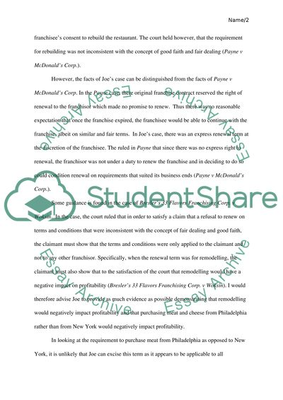 Franchise law Essay Example Topics and Well Written Essays - 3000