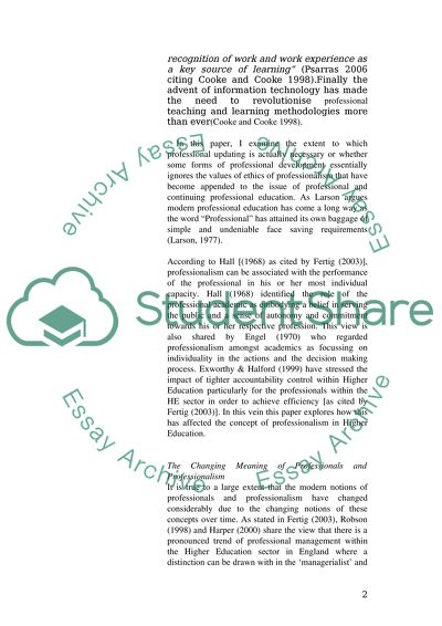 The Education of Professionals Research Proposal