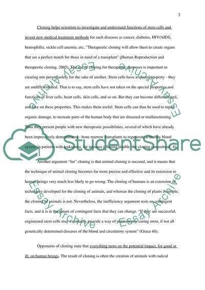 Cloning (Argument Synthesis) Essay Example Topics and Well Written