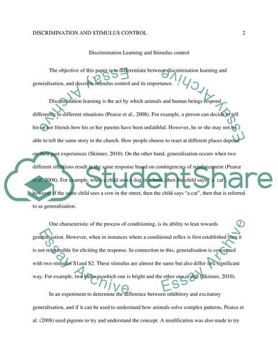 Discrimination Learning and Stimulus control (in Rats) Research Paper