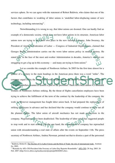 Labor Unions Essay Example Topics and Well Written Essays - 750 words