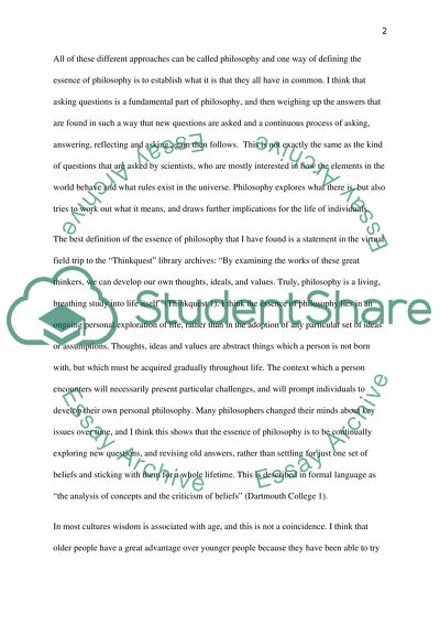 What is the essence of philosophy Essay Example Topics and Well