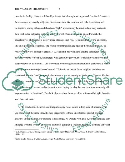 The Value of Philosophy Essay Example Topics and Well Written