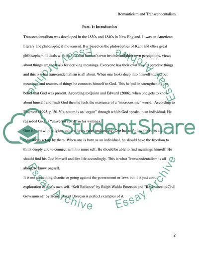 The Examples of Transcendentalism in the True Sense Essay