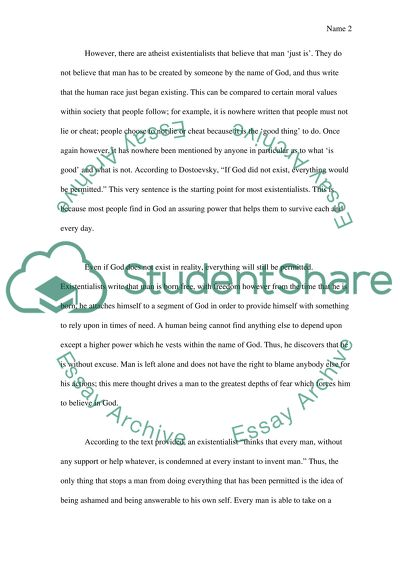 Sartre\u0027s Existentialism Essay Example Topics and Well Written