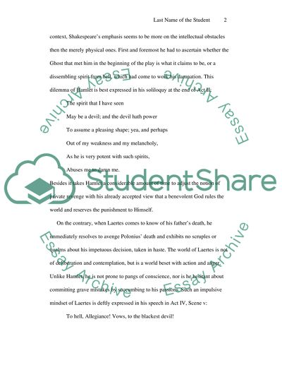 Shakespeare\u0027s Hamlet and Laertes Essay Example Topics and Well