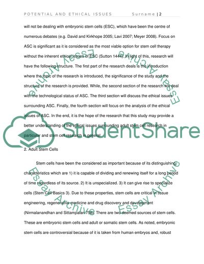 Potential and Ethical Issues of Adult Stem Cells Essay