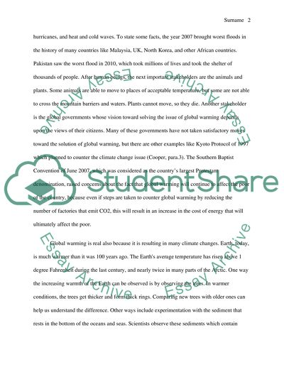 Global Warming is real Essay Example Topics and Well Written