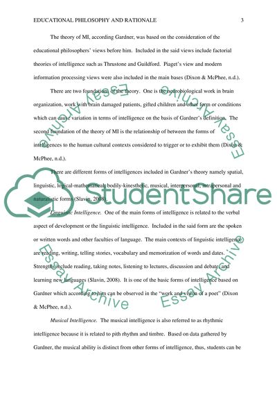 Education Philosophy and Rationale Essay Example Topics and Well
