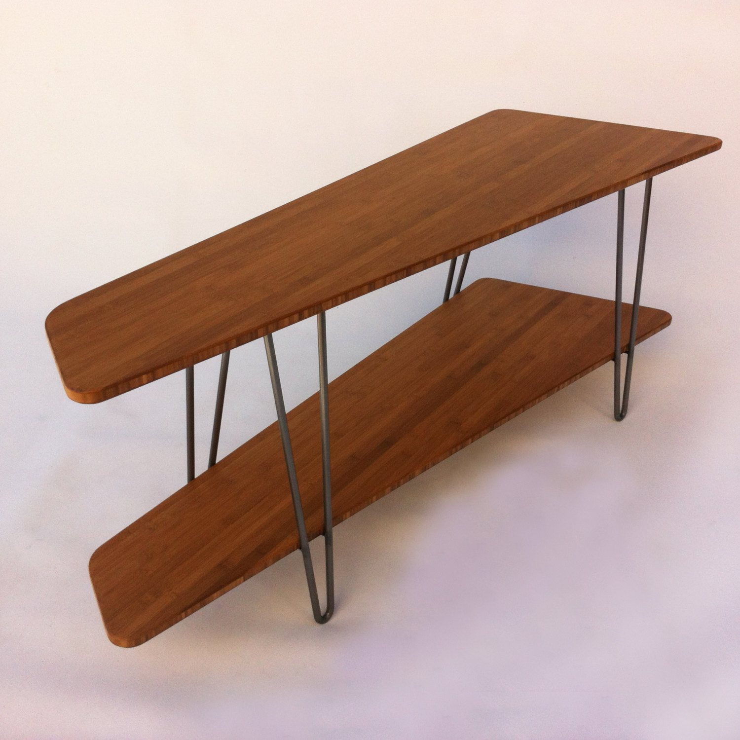 Contemporary Mid Century Modern TV Stand Media Console With Shelf U2013 Low Hall  Table In Caramelized Bamboo On Hairpin Legs