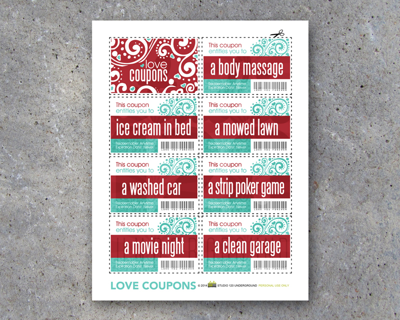 Love Coupons For Him - Printable Instant Download - Studio 120