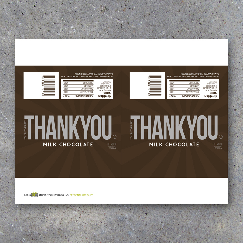 Thank You Candy Bar Wrappers \u2013 Printable Instant Download \u2013 Studio - hershey wrappers