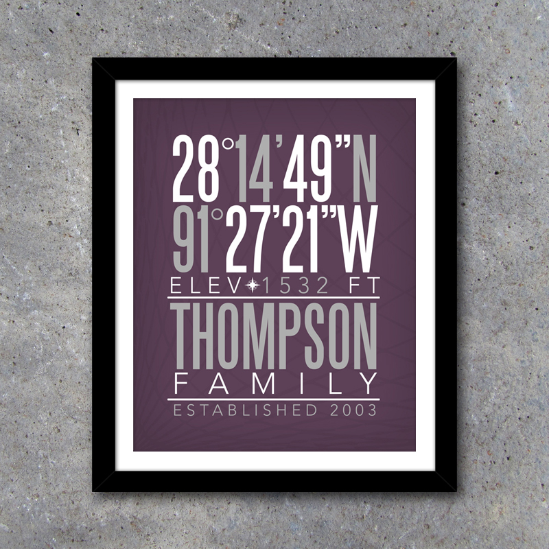 Personalized Family Home Coordinates \u2013 Printable Custom Download