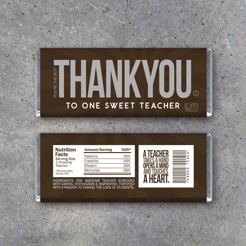 Thank You Teacher Appreciation Candy Bar Wrappers \u2013 Printable - hershey wrappers
