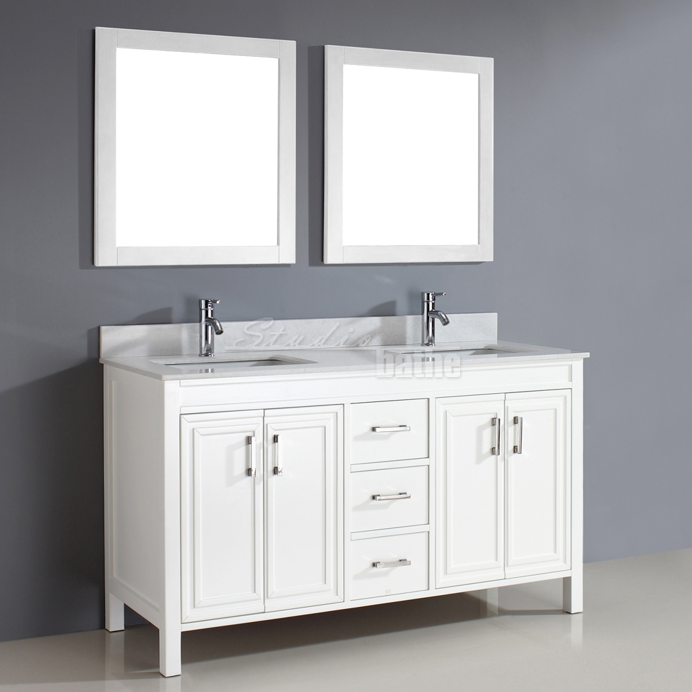 Wood Framed Bathroom Vanity Mirrors Corniche 60 White