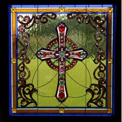 Small Crop Of Stained Glass Cross