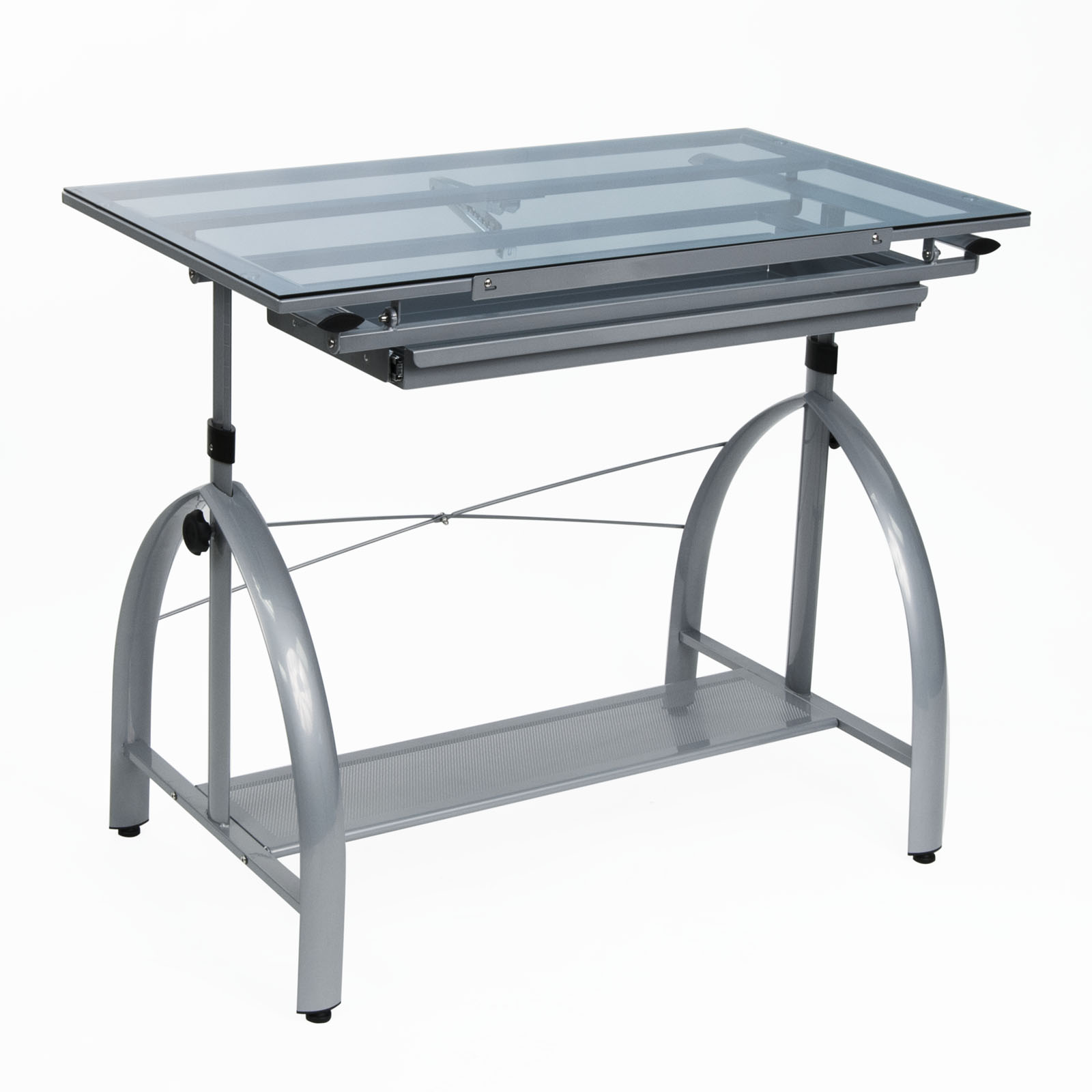 Drafting Table Design Avanta Metal And Glass Height Adjustable Drafting Desk In